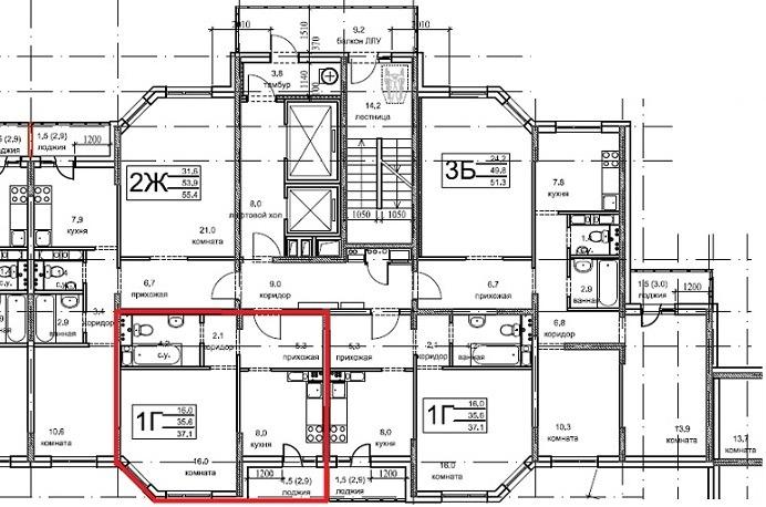 1-комнатная квартира (№11) в ЖК Олимпийский, г.Чехов, мкр. Олимпийский, корп.5