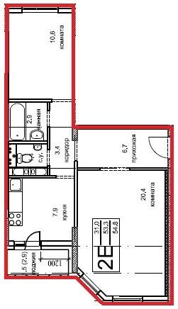 2-х комнатная квартира (№238) в ЖК Олимпийский, г.Чехов, мкр. Олимпийский, корп.5