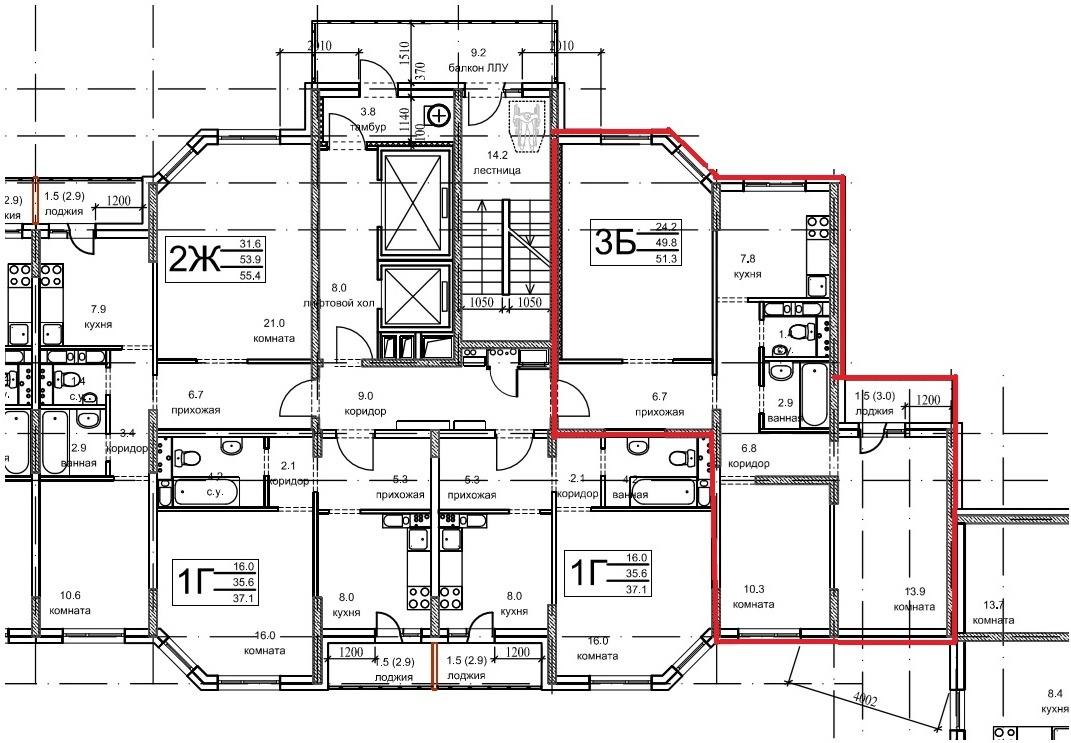 План квартиры на этаже