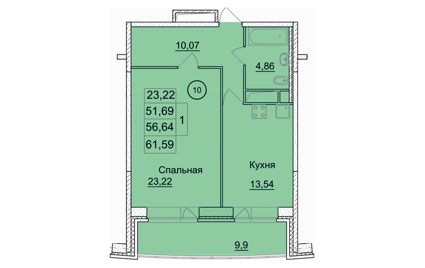 1-к комнатная квартира (№ 226) на 14-м этаже в ЖК Санрайс