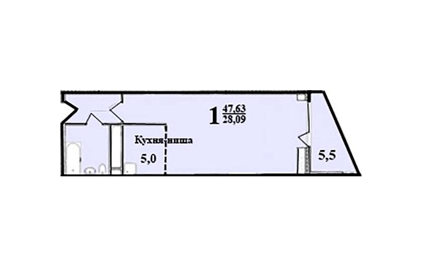 1-к комнатная квартира № 60 (38) на 5-м этаже в ЖК Санрайс