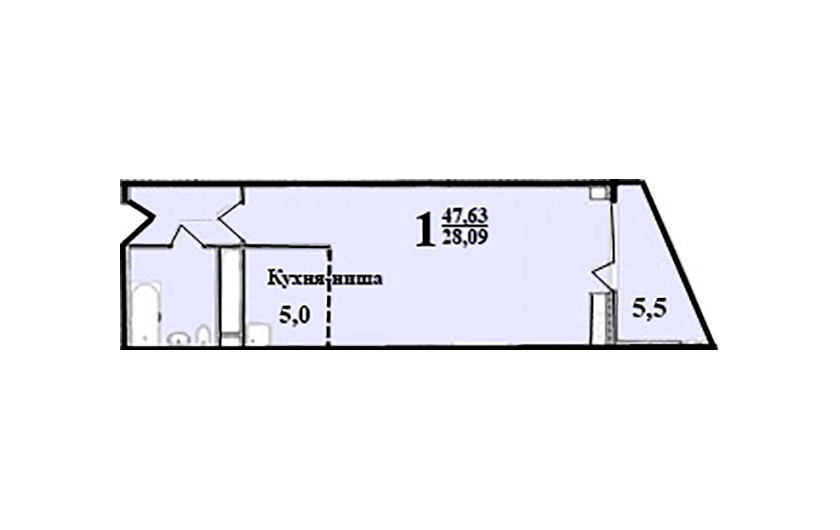 1-к комнатная квартира № 96 (58) на 7-м этаже в ЖК Санрайс