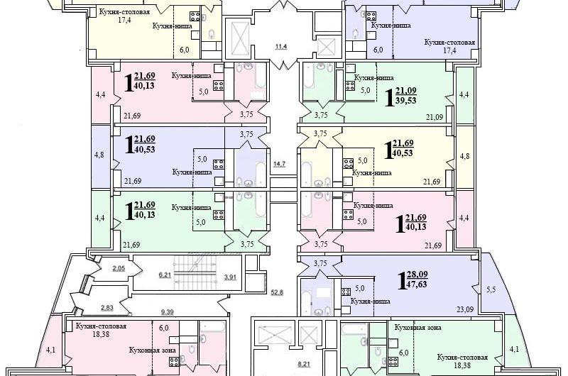 1-к комнатная квартира (№ 240) на 15-м этаже в ЖК Санрайс