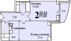 2-х комнатная квартира № 7 (7) на 2-м этаже в ЖК Санрайс