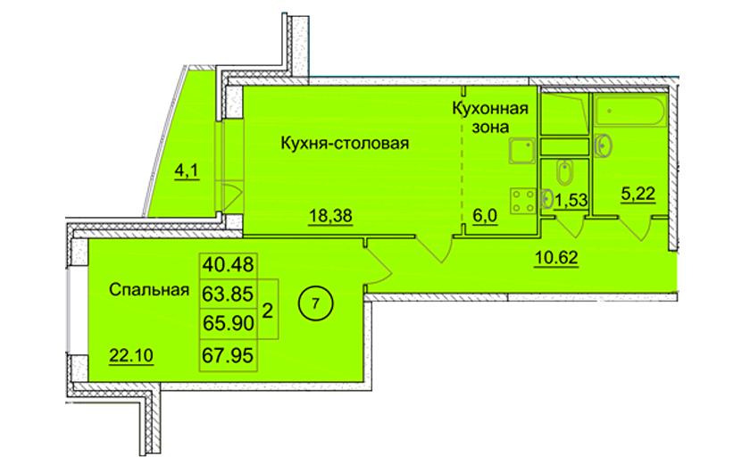 2-х комнатная квартира № 13 (1) на 2-м этаже в ЖК Санрайс