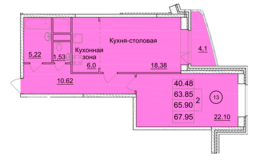 2-х комнатная квартира (№ 67) на 5-м этаже в ЖК Санрайс