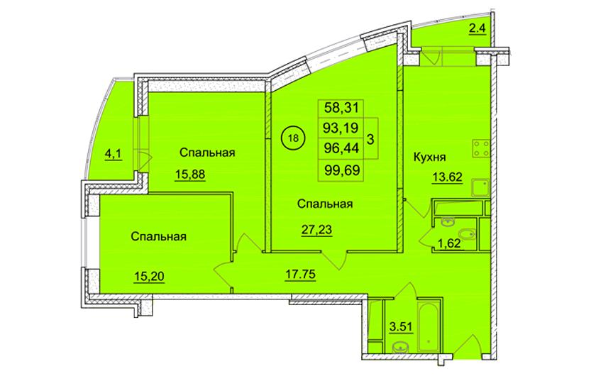 3-х комнатная квартира № 162 (225) на 10-м этаже в ЖК Санрайс