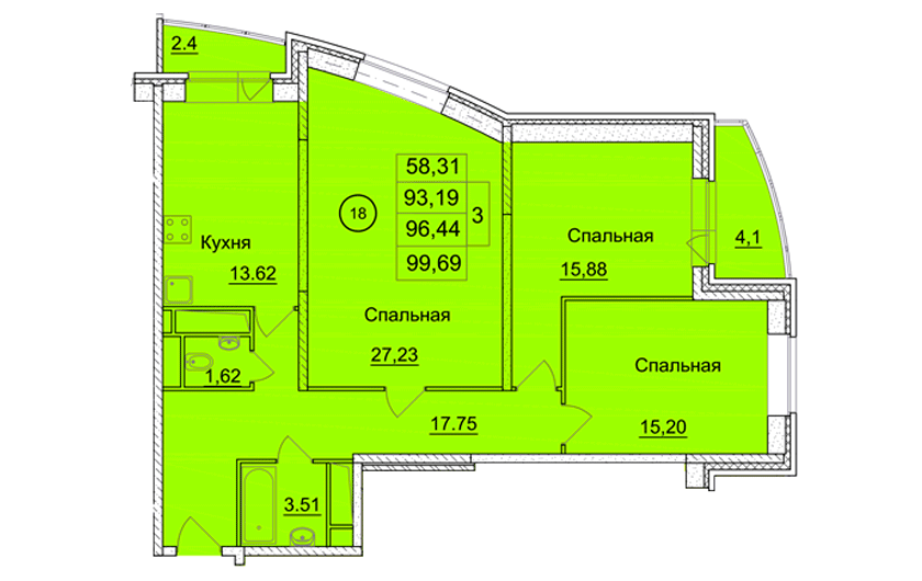3-х комнатная квартира № 54 (177) на 4-м этаже в ЖК Санрайс