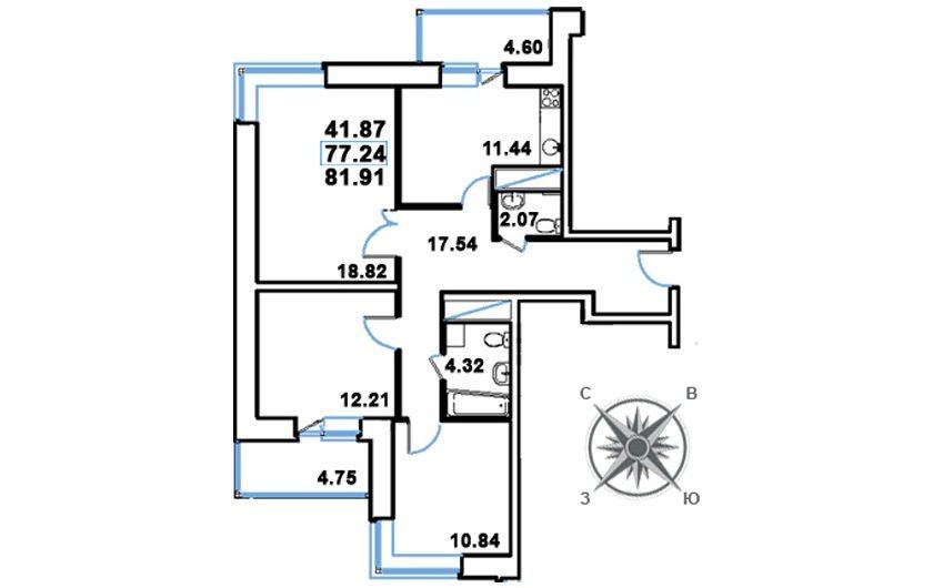 3-х комнатная квартира (№648) 81,91 м2 (тип 3б-1) в ЖК Рациональ, Московская область, г. Реутов, ул. Головашкина, дом 3 к.1
